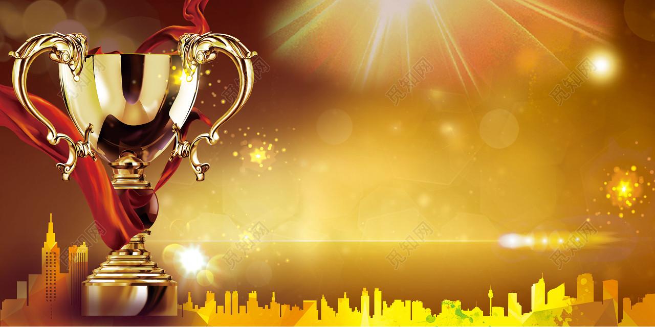 中国风金色舞台背景年会新年2019猪年颁奖典礼海报背景