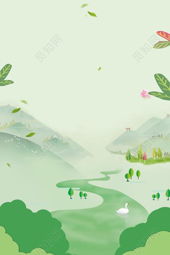 春天春季 中国风手绘风景春天旅游踏青春游促销海报设计背景