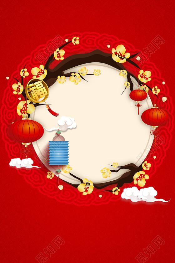 手绘灯笼插画2019猪年新年春节除夕新春过年海报红色背景素材