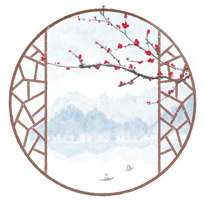 白露寒露24節氣中國風水墨山水墨跡水墨手繪中國風窗外遠景