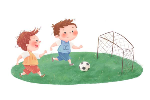 兒童開學季培訓班小學生踢足球課間活動卡通插畫