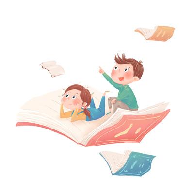 小人兒童開學季小學生補習卡通插畫