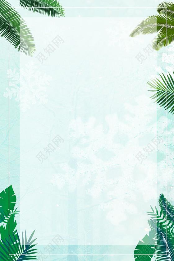 夏天边框热带春天树叶边框背景图片免扣素材