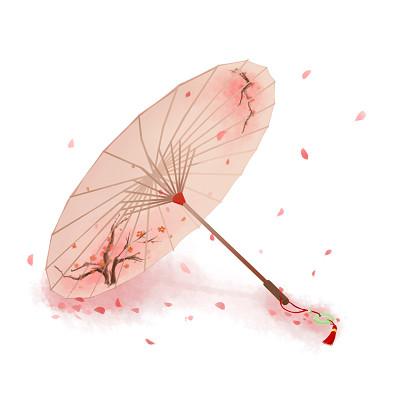 古風水墨油紙傘落花瓣