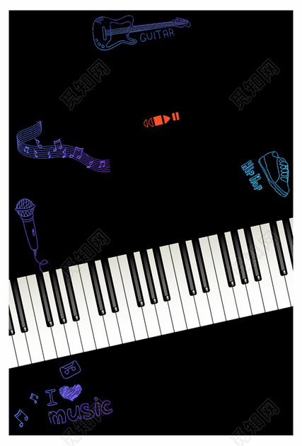 黑色手绘卡通钢琴宣传音乐会交响乐宣传单海报背景