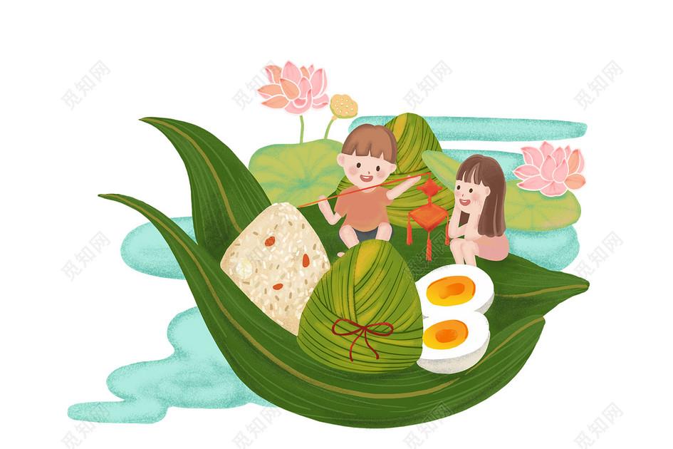 夏天立夏端午節人物粽子素材