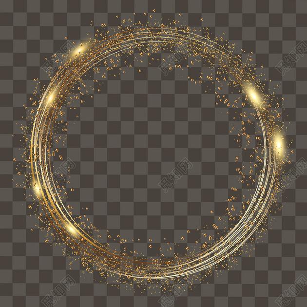 金色光圈創意光效光效科技感光暈png素材