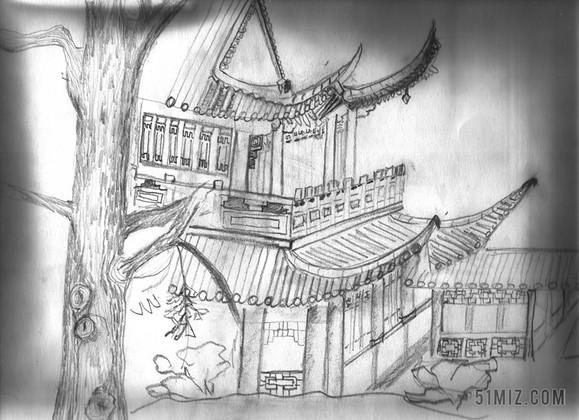黑白现代速写阁楼写生自然风景背景图片
