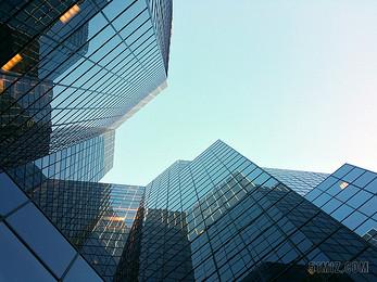 藍色企業城市商務公司玻璃建筑高樓大廈仰視城市圖片