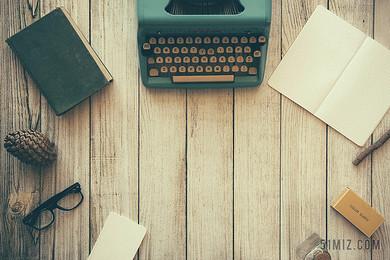 商務復古打字機筆記本文字記錄背景圖片