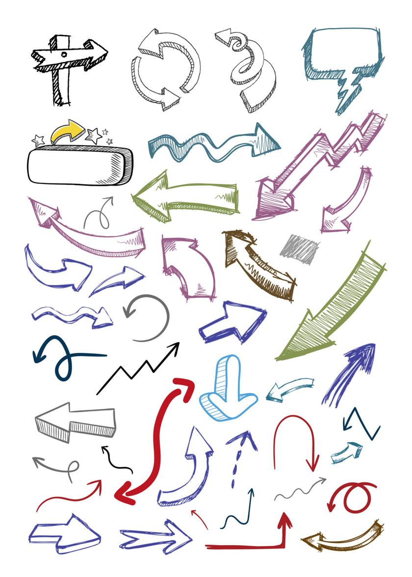 卡通手绘箭头矢量素材