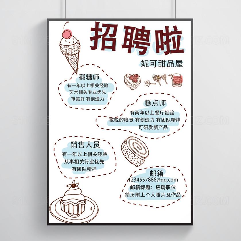 创意手绘冰淇淋招聘海报展板设计
