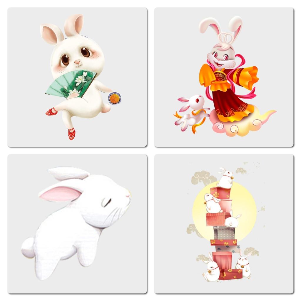 卡通可爱中秋兔子png素材