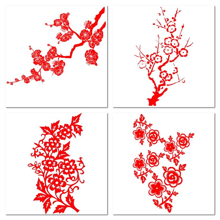 红色花朵花纹梅花剪纸png素材