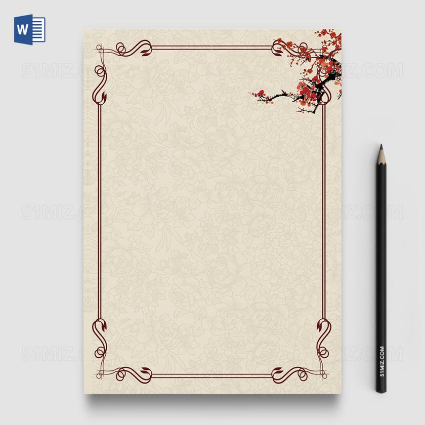 花卉中国风背景word信纸模板背景-信纸背景模板-觅知网