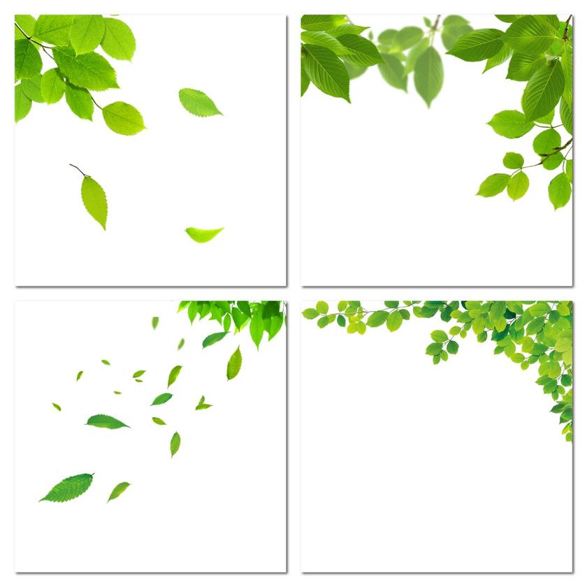 春天绿色漂浮叶子装饰素材