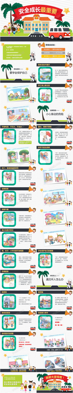 卡通童趣可爱系幼儿园安全成长教育ppt模板