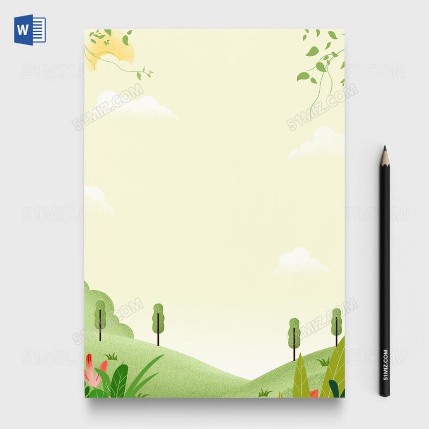 卡通清新风word信纸编辑模板-信纸背景模板-觅知网
