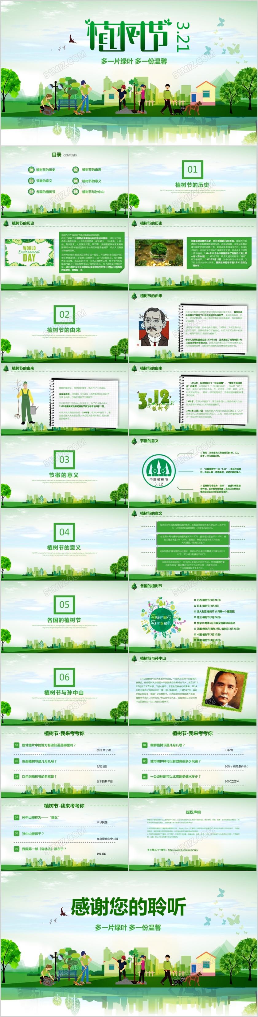 312植树节绿色生态教育教学主题班会课件幼儿园大班中班植树节ppt模板