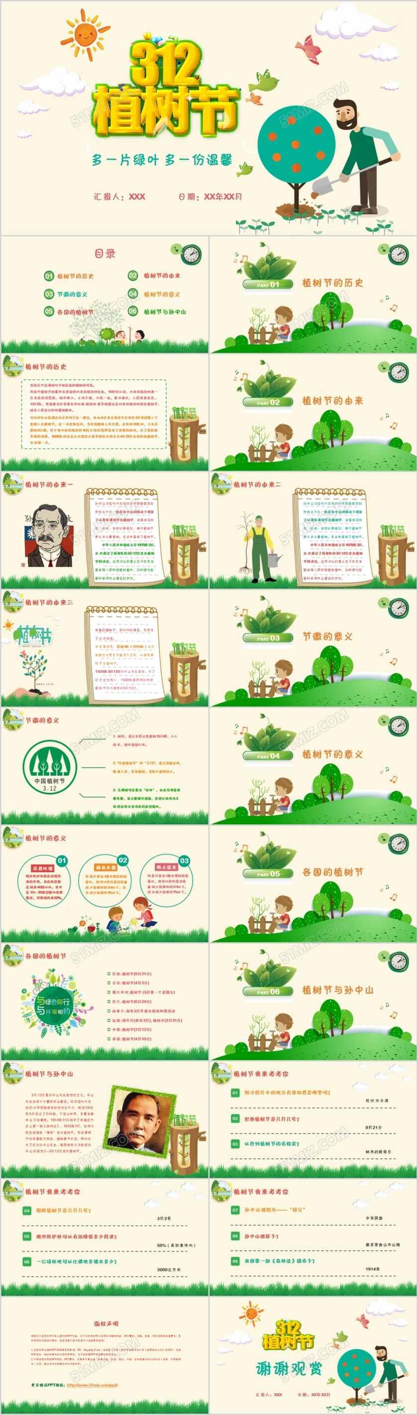 植树节卡通教育教学主题班会活动幼儿园大班中班植树节ppt模板