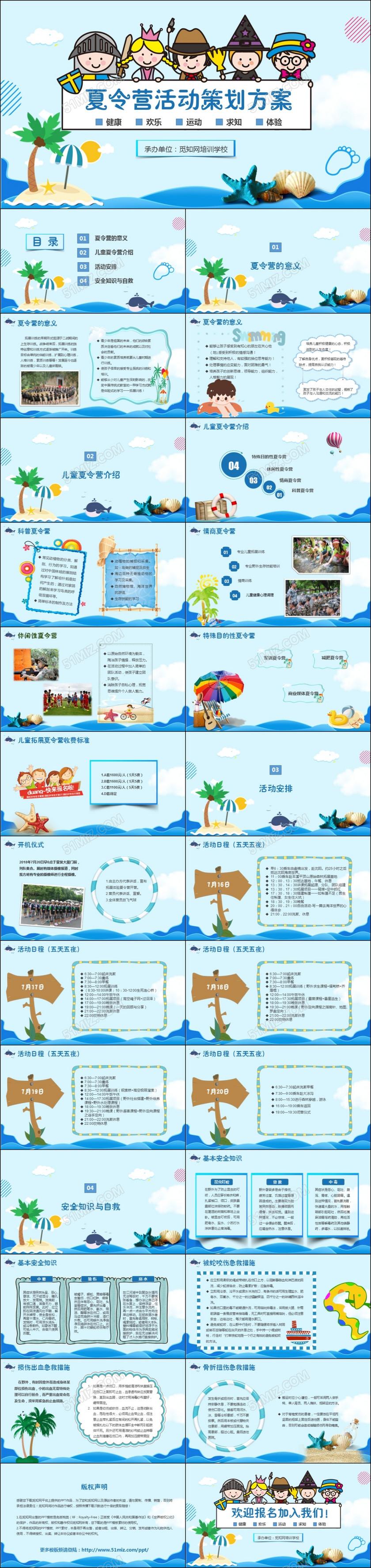 蓝色清新海洋暑假夏令营活动策划方案暑假学生户外活动PPT模板