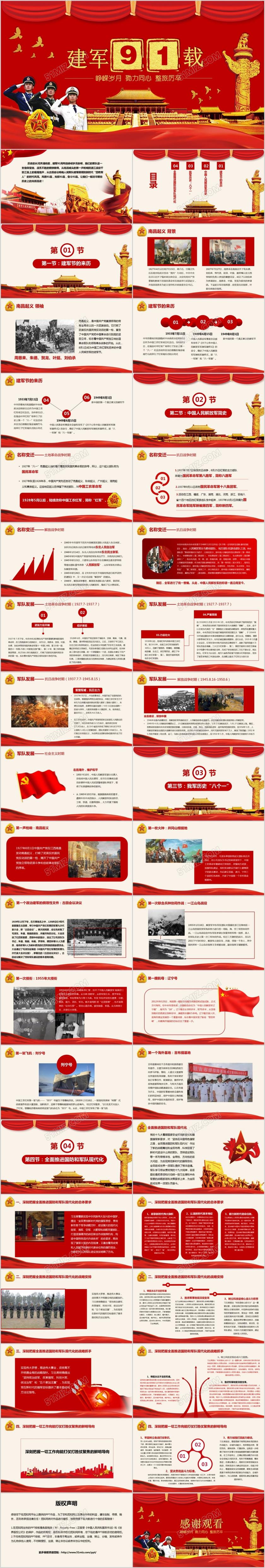 八一建军节回顾红色历史军事军队庆典PPT