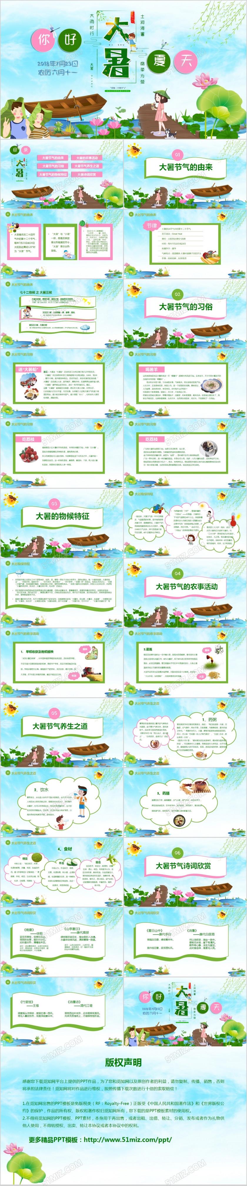 绿色清新中国节日二十四节气之大暑节气知识PPT