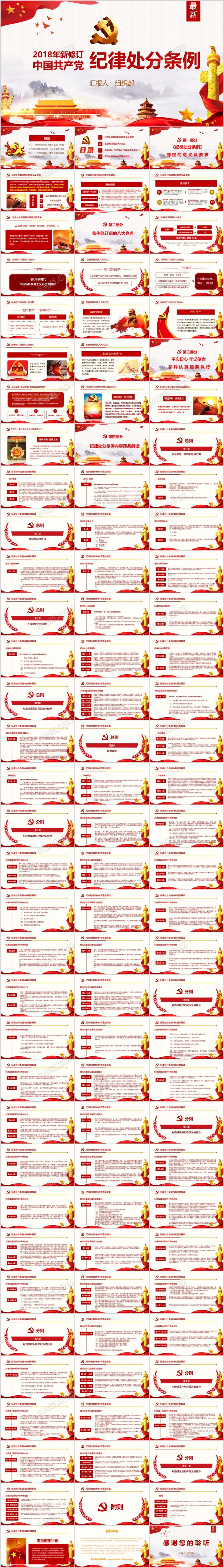 红色中国共产党纪律处分条例党课宣传学习ppt模板