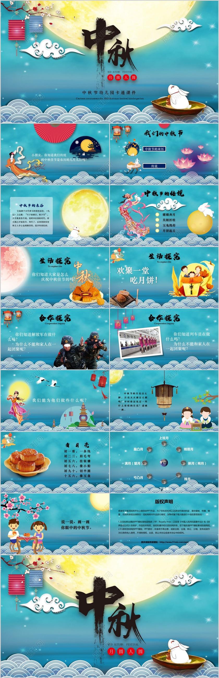 卡通风幼儿园小学生中秋节课件ppt模板