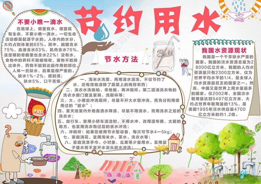 可爱手绘插画风格节约用水环保公益海报宣传栏
