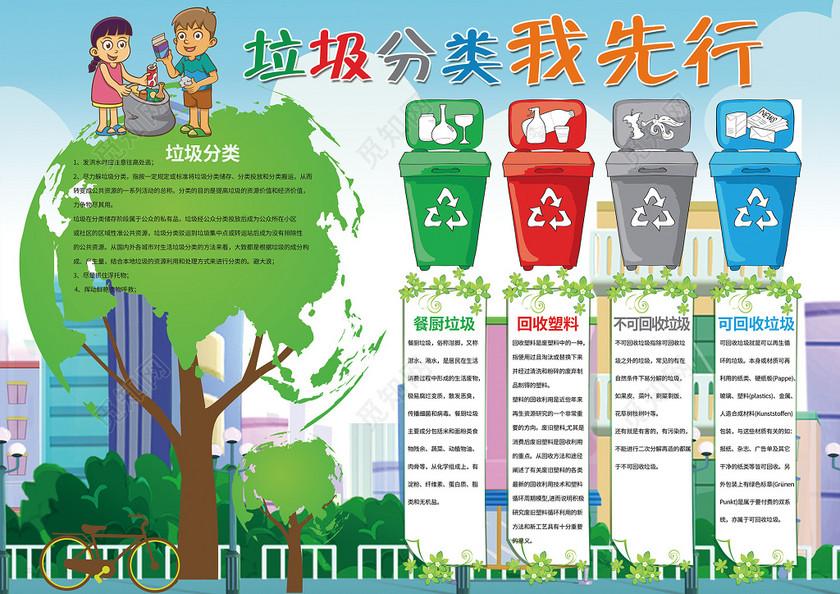 垃圾分类我先行绿色环保文明礼仪小报手抄报含有ps源文件