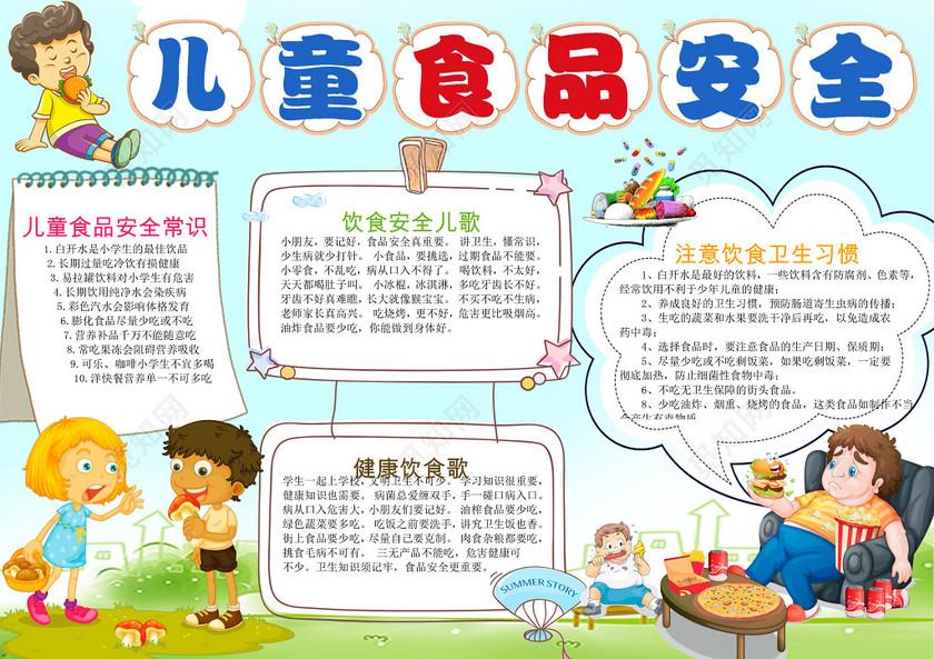 小报边框健康饮食习惯儿童食品安全小报手抄报