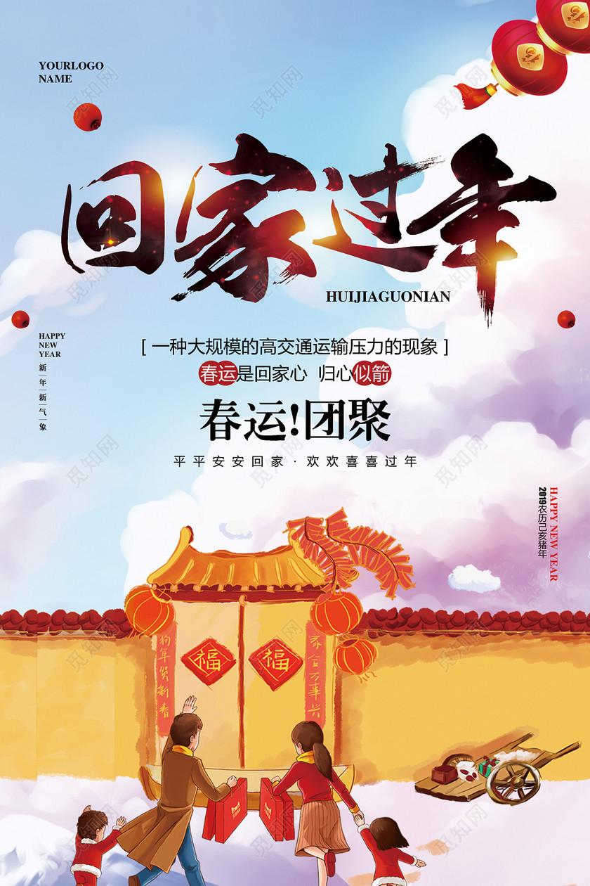 水彩手绘2019猪年新年春运回家过年海报