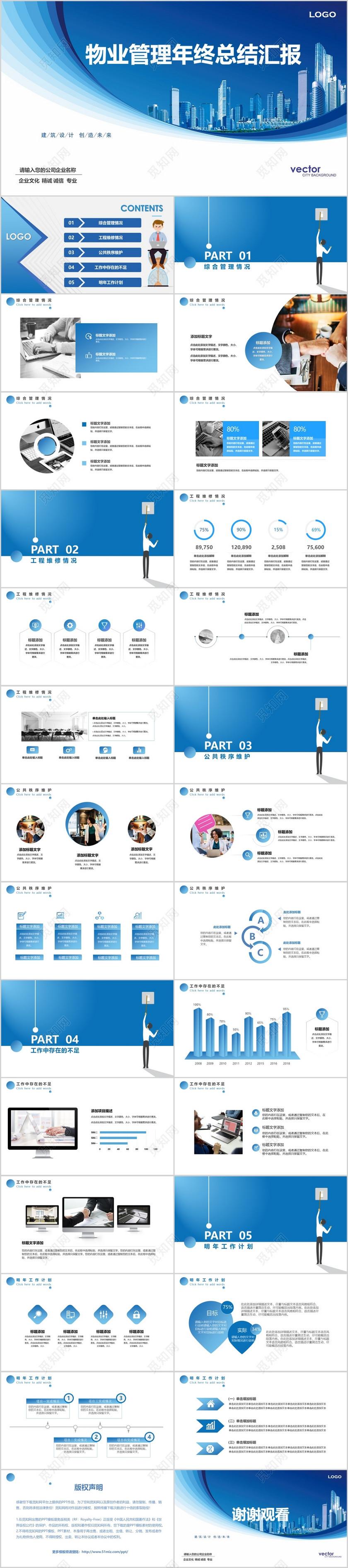 物业管理年终总结报告蓝色渐变线条PPT模版