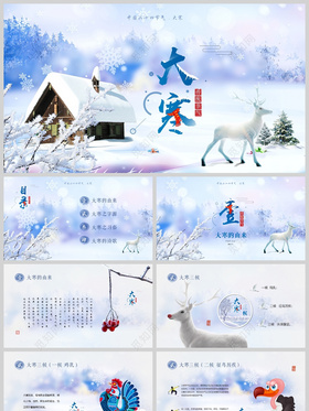 中國風視頻片頭中國二十四節氣之大寒PPT清新冬季雪花