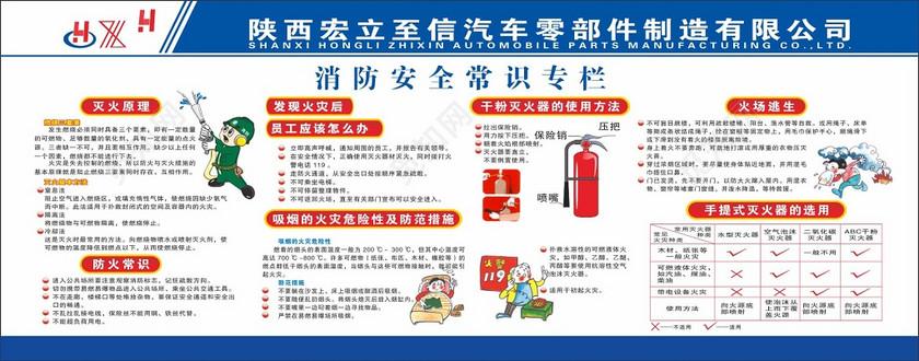 汽车零部件制造公司消防安全常识专栏展板