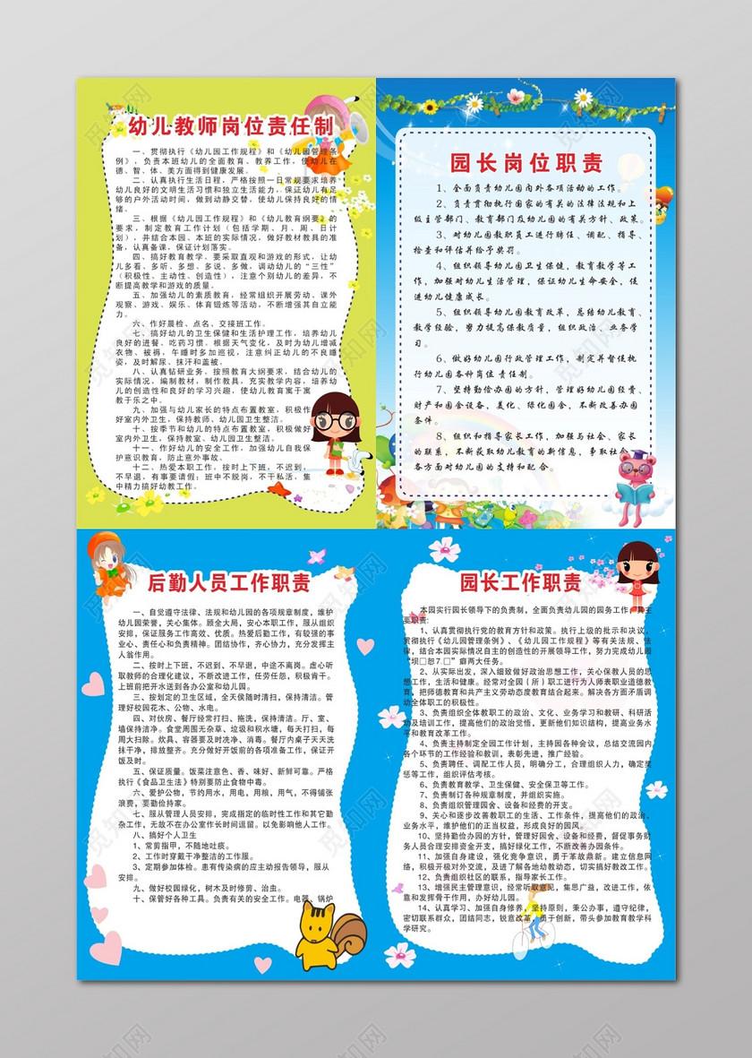 幼儿园管理制度园长工作岗位职责制度牌