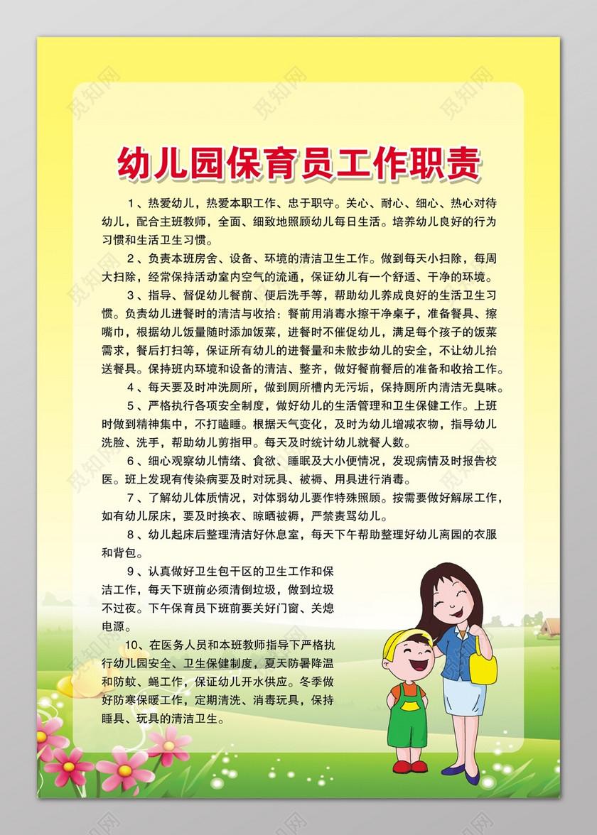 幼儿园保育员工作职责幼儿园各项规章制度卡通人物制度牌