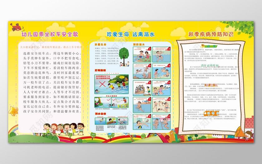 黄色简单背景幼儿园安全知识宣传展板宣传栏设计
