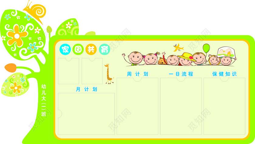 幼儿园家园共育月计划周计划一日流程保健知识卡通宣传栏