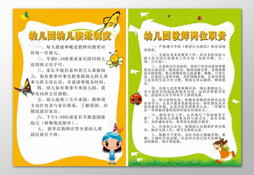 幼儿园幼儿接送制度教师岗位职责卡通制度牌