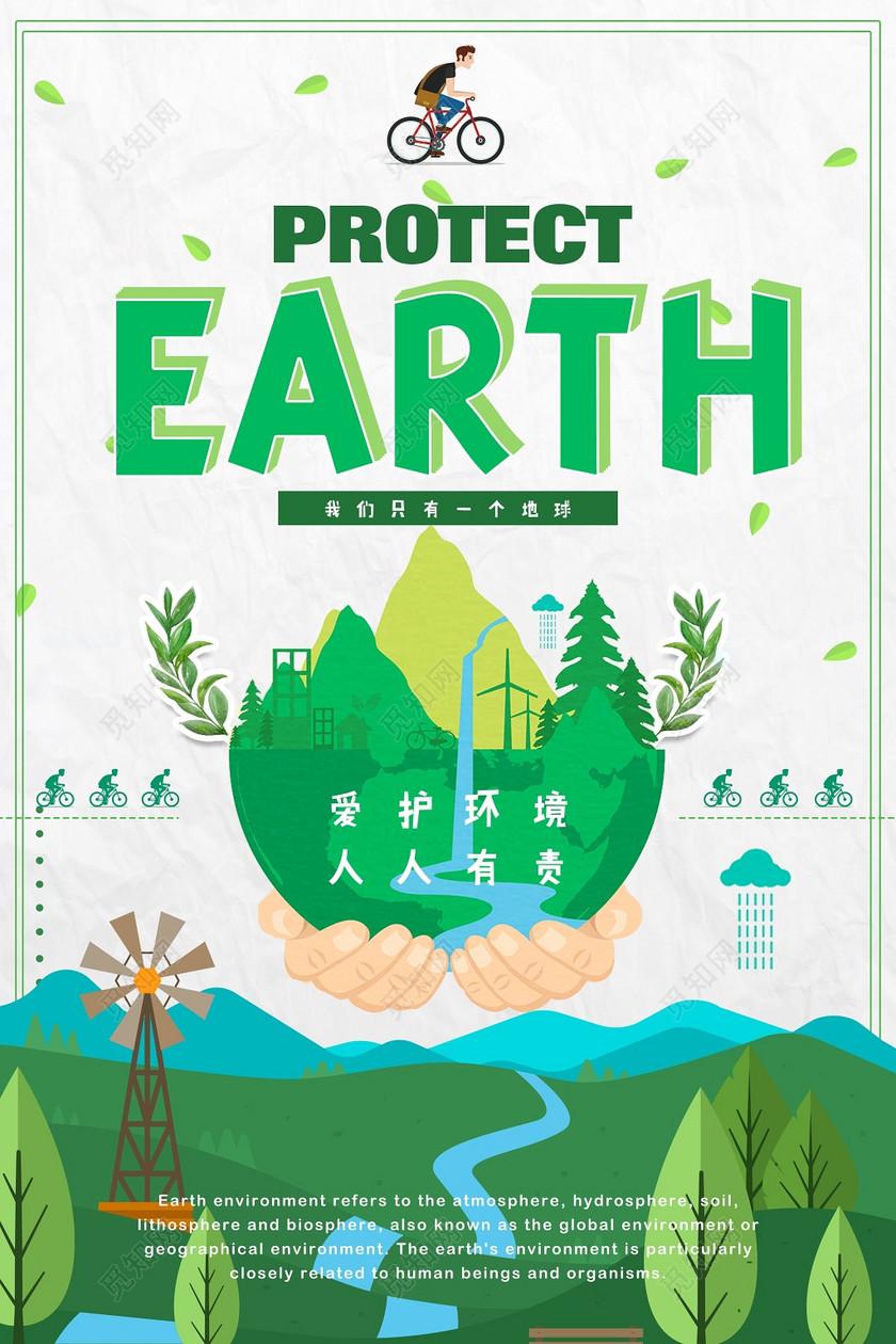 保护地球英文海报下载-设计模板-觅知网图片