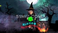 AE片头动画LOGO万圣节女巫聚会开场卡通人物变装晚会