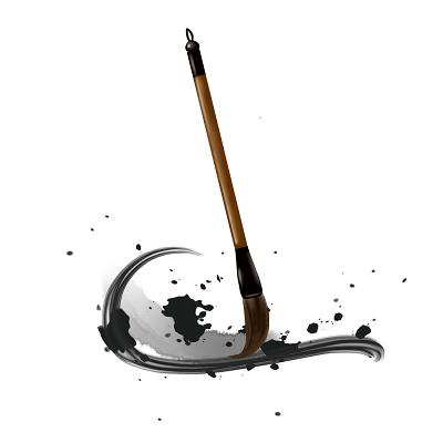 中國風手繪毛筆墨跡