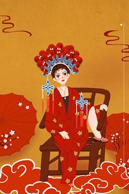 紅色簡約復古經典國潮來襲中國風傳統文化傘鳳冠椅子宣傳海報