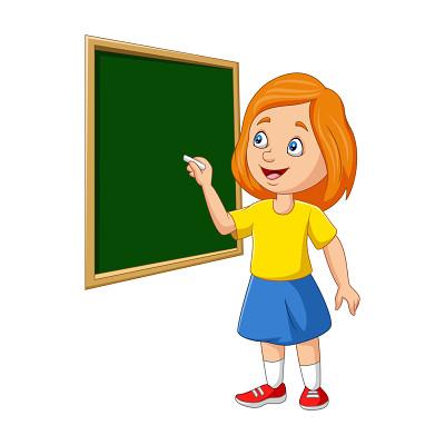 手繪黑板開學季卡通人物素材