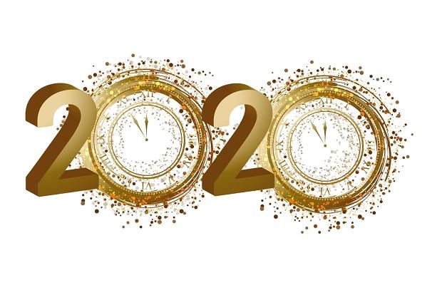 小清新金色漸變數字2020鼠年新年春節素材