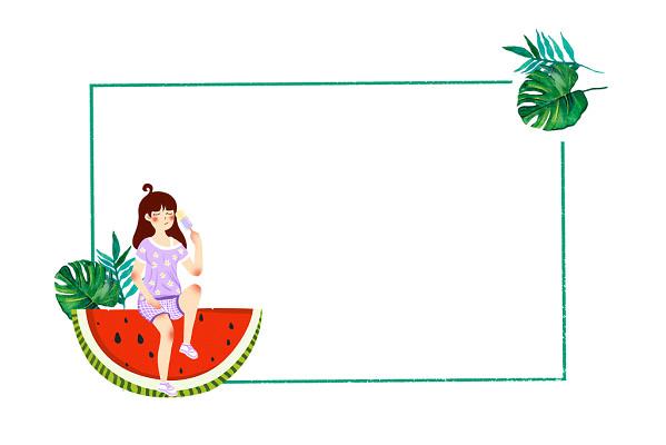 矢量樹葉手繪邊框夏天邊框簡單樹葉雪糕冰棍西瓜女孩夏日邊框