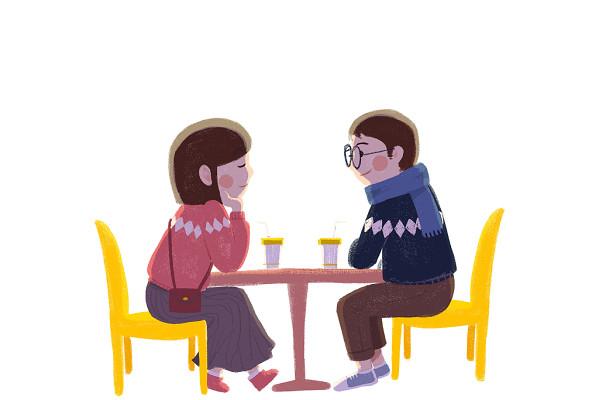 七夕情人節情侶約會相會插畫