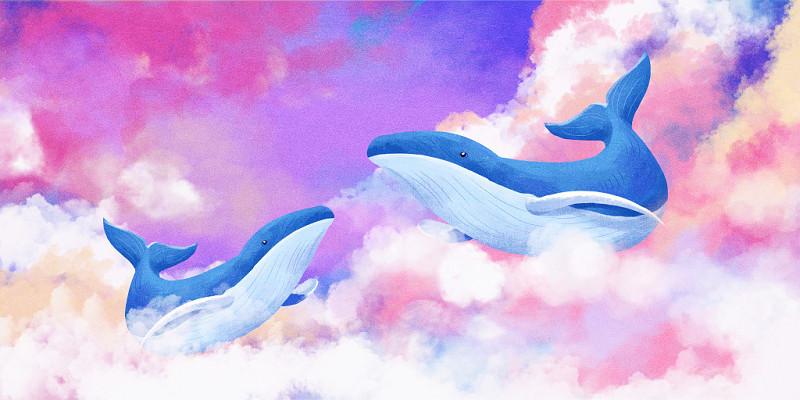 藍天白云情感表達類鯨魚唯美治愈系手繪插畫海報背景